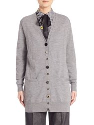 Marc Jacobs Embroidered Oversized Cardigan Grey