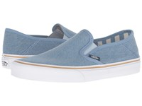 Vans Slip On Sf Light Denim Stripes Women's Skate Shoes Blue