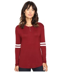 Culture Phit Braylin Long Sleeve Top Burgundy White Women's Clothing