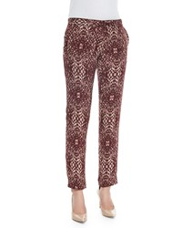 Haute Hippie The Tailored Slim Shady Pants Shadow Snake Merlot Size 2 Maroon Shdw Snake Merlot