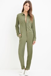 Forever 21 Life In Progress Utility Jumpsuit Olive