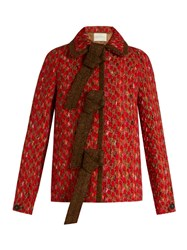 Marco De Vincenzo Wool Blend Tweed Jacket Red Multi