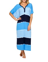 Ellen Tracy A Sea Of Dreams Caftan Nightgown Blue Navy