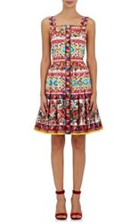 Dolce And Gabbana Women's Cotton Fit Flare Dress Red