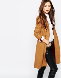 Pull And Bear Pullandbear Double Breasted Camel Coat Red