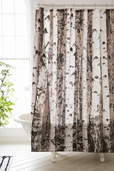 Urban Outfitters Birch Tree Shower Curtain Grey