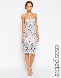 Asos Petite Pencil Dress With Curved Plunge Neck In Floral Print Multi