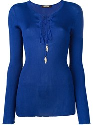 Roberto Cavalli Lace Up Rib Knit Top Blue