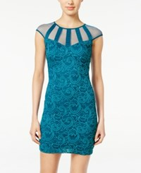 Teeze Me Juniors' Illusion Lace Bodycon Dress Teal