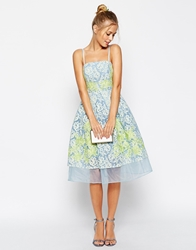 Asos Salon Premium Placed Lace And Applique Prom Dress With Organza Hem Blue