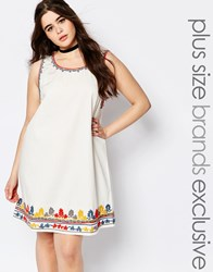 Alice And You Heavily Embroidered Shift Dress White