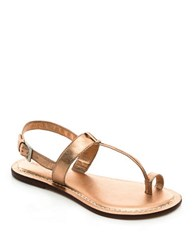 Bernardo Maverick Leather Toe Ring Sandals Rose Gold