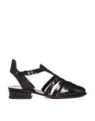 Markus Lupfer Printed Leather Cut Out Flat Shoes Black