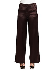 Jason Wu Satin Finish Silk And Wool Wide Leg Trousers Eggplant