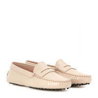 Tod's Gommini Patent Leather Loafers Nude