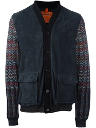 Missoni Contrast Sleeve Padded Jacket Blue