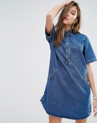 Pull And Bear Pullandbear Denim T Shirt Dress Blue
