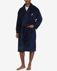 Nautica Men's Essential Plush Robe Maritime Navy