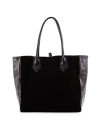 Reese Leather Combo Tote Bag Black Lauren Merkin
