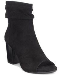 Kenneth Cole Reaction Fridah Coo Slouchy Peep Toe Ankle Booties Women's Shoes Black