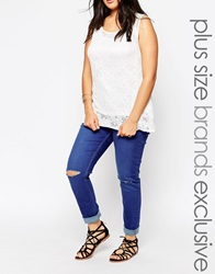 New Look Inspire Authentic Ripped Knee Skinny Jean Blue