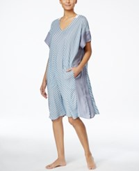 Dkny Printed Handkerchief Hem Short Caftan Spa Stripe