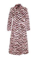 Giambattista Valli Long Chevron Mink Coat Multi