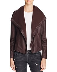 T Tahari Andreas Leather And Knit Jacket Merlot