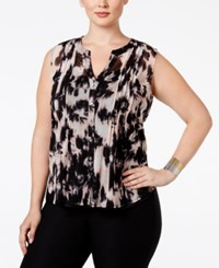 Inc International Concepts Plus Size Sleeveless Pintucked Blouse Only At Macy's Ghost Bouquet