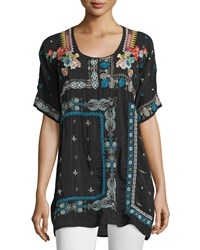 Johnny Was Danny Short Sleeve Embroidered Blouse Black Women's
