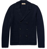 Burberry London Double Breated Wool And Cahmere Blend Cardigan Navy