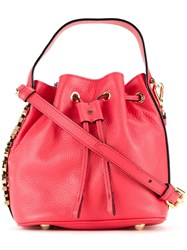 Moschino Logo Plaque Bucket Tote Red