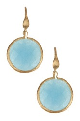 Rivka Friedman 18K Gold Clad Bold Round Faceted Caribbean Blue Quartzite Dangle Earrings