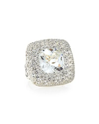 John Hardy Batu Classic Chain Silver Large Square Ring With White Topaz Size 7