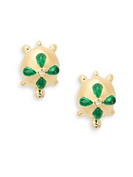 Temple St. Clair Emerald Diamond And 18K Yellow Gold Turtle Earrings