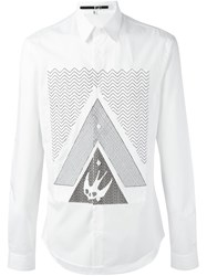 Mcq By Alexander Mcqueen Swallow Glyph Print Shirt White