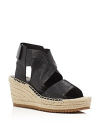 Eileen Fisher Willow Espadrille Platform Wedge Sandals Black