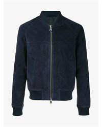 Ami Alexandre Mattiussi Suede Zipped Teddy Jacket Navy Denim White