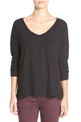 Sun And Shadow V Neck Thermal Swing Top Black