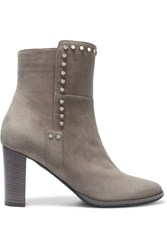 Jimmy Choo Harlow Embellished Suede Ankle Boots Gray