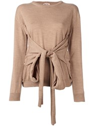N 21 No21 Front Knot Knit Blouse Nude Neutrals