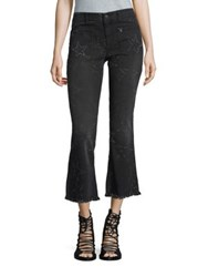 Stella Mccartney Star Detail Frayed Kick Flare Jeans Vintage Black