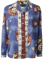 Jean Paul Gaultier Vintage 'Horoscope' Print Shirt Blue