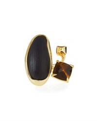 Alexis Bittar Liquid Bezel Pyramid Cocktail Ring Black