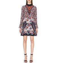 Mary Katrantzou Floral Print Silk Shift Dress Cosmo Rose Peach