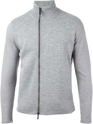 Emporio Armani Zipped High Collar Cardigan Grey