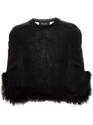Simone Rocha Merino Wool Cape With Feather Embellishment Black