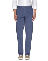 Solid Trousers Casual Trousers Men Blue