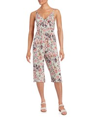 Betsey Johnson Floral Print Cropped Jumpsuit Mint Multi