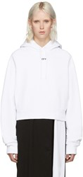 Off White Cropped Logo Hoodie